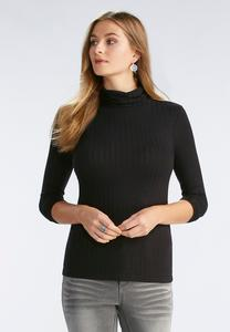 Ribbed Turtleneck Top- Plus