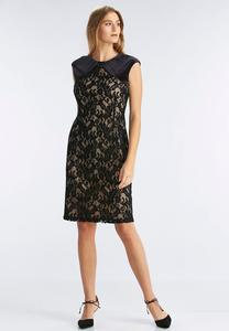 Velvet Shoulder Lave Sheath Dress-Plus