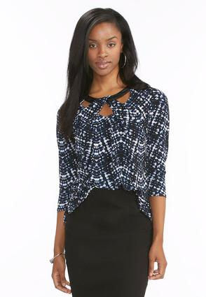 Graphic Twisted Cutout Neck Top- Plus