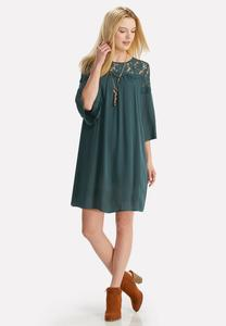 Lace Yoke Trapeze Dress-Plus