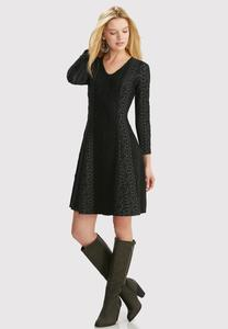 Geometric Textured Fit and Flare Dress-Plus