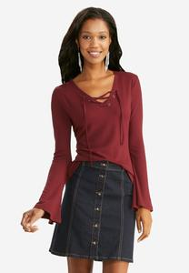 Ribbed Lace Up Bell Sleeve Top-Plus