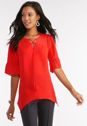 Flounced Sleeve Lace Up High- Low Top