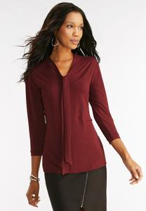Tie Neck Top-Plus