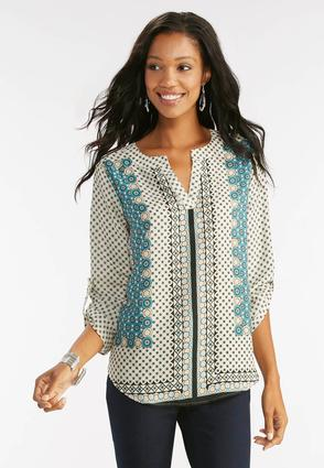 Kaleidoscope High- Low Popover Top