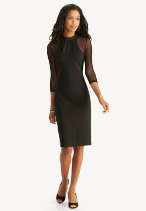 Twist Neck Mesh Sleeve Sheath Dress- Plus