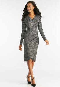 Space Dyed Faux Wrap Midi Dress-Plus