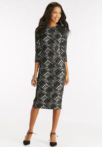 Textured Checkered Midi Dress
