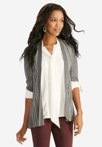 Pointelle Accordion Pleat Cardigan-Plus