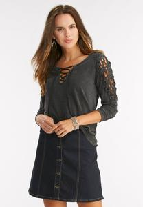 Crochet Shoulder High-Low Top-Plus