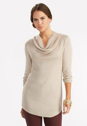 Ribbed Cowl Neck Sweater- Plus