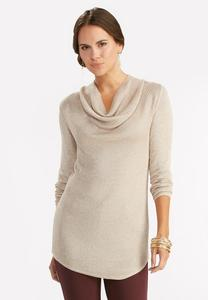 Ribbed Cowl Neck Sweater-Plus