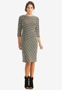 Metallic Mixed Stripe Midi Dress-Plus