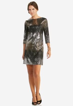 Mixed Sequin Sheath Dress- Plus