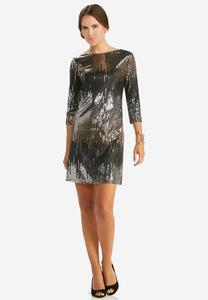 Mixed Sequin Sheath Dress-Plus