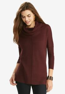 Waffle Knit Cowl Neck Tunic Sweater-Plus