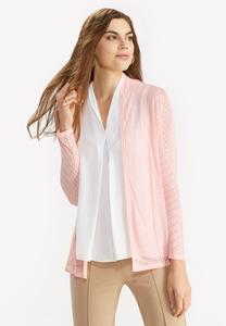 Pointelle Knit Open Cardigan