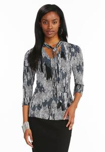 Abstract Leaf Tie Neck Top