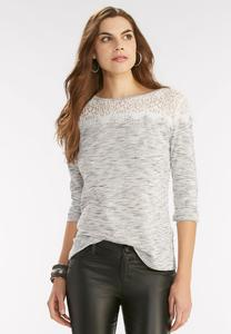 Lace Yoke Space Dyed Top- Plus