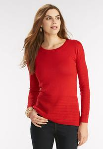 Pointelle Inset Crew Neck Sweater
