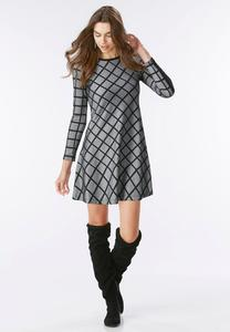 Windowpane Fit and Flare Dress-Plus