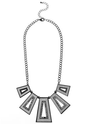 Glitter Cutout Plate Necklace
