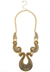 Glitter Swirl Bib Necklace