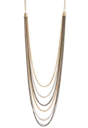 Mixed Metal Layered Chain Necklace
