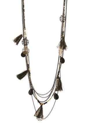 Stationed Tassel Layered Necklace