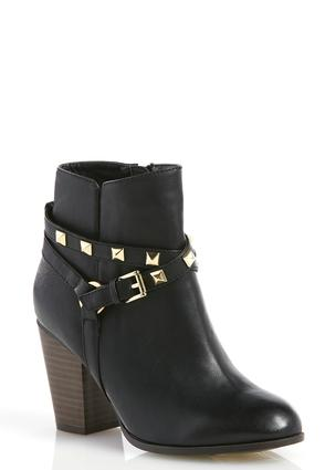 Studded Cross Strap Ankle Boots