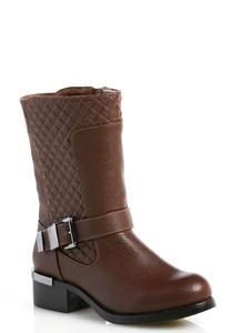 Wide Width Quilted Mid Calf Boots