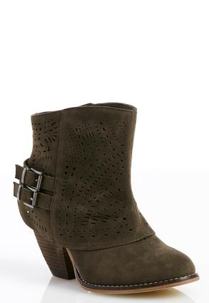 Laser Cut Cuffed Ankle Boots