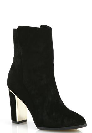 Metal Heel Faux Suede Ankle Boots