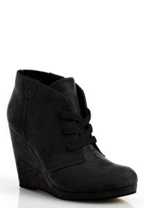 Lace Up Faux Suede Shooties