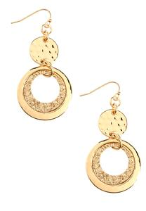 Hammered Glitter Disc Dangle Earrings
