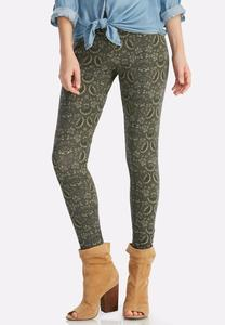 Retro Leaf Print Leggings