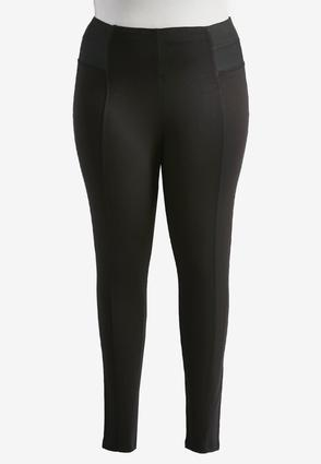 Elastic Waist Ponte Leggings- Plus