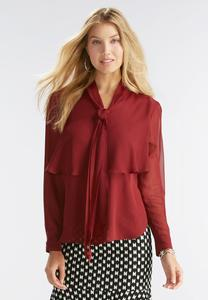 Tiered Ruffle Bow Blouse- Plus