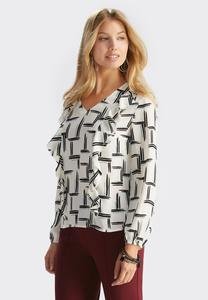 Double Ruffle Abstract Print Top-Plus