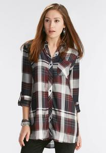 Herringbone Plaid Button Down Tunic-Plus