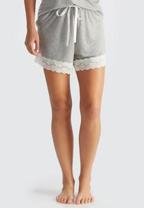 Lace Trim Pajama Shorts