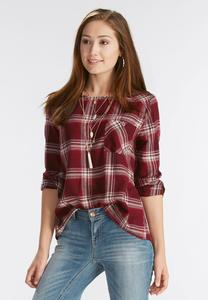 Plaid Button Back Top-Plus