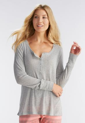 Ribbed Pointelle Henley Sleep Top- Plus
