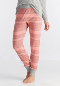 Mixed Striped Sleep Joggers-Plus