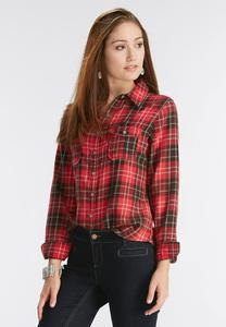 Plaid Flannel Knit Shirt-Plus