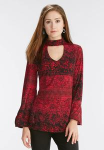 Poinsettia Cutout Mock Neck Top