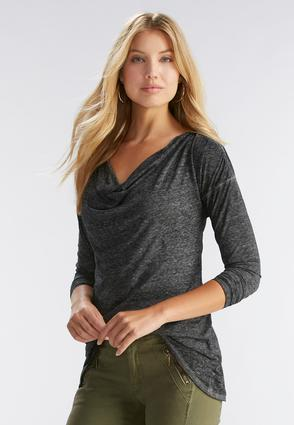 Cowl Neck Sharkbite Top- Plus