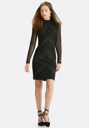 Metallic Lace Mock Neck Midi Dress