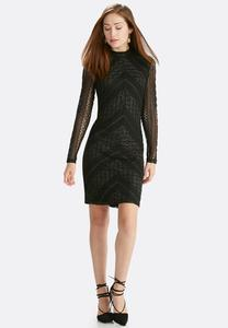 Metallic Lace Mock Neck Midi Dress-Plus