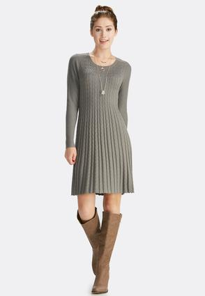 Cable Knit Fit And Flare Dress- Plus